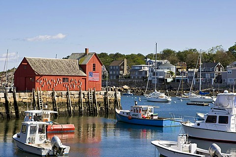 View of the famous red shed in Rockport, a small fishing village in Massachusetts, New England, USA