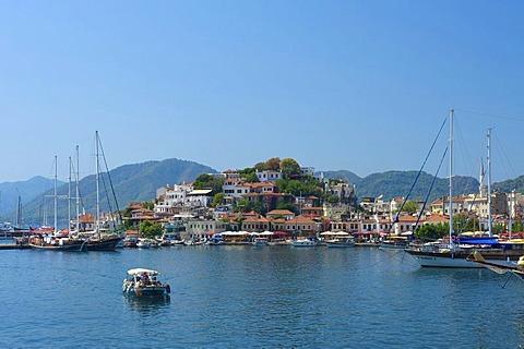 Old town and marina in Marmaris, Turkish Aegean Coast, Turkey