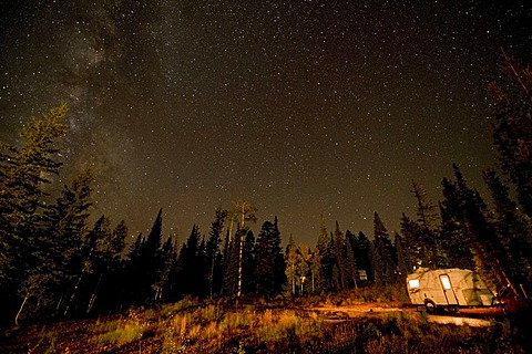Starry sky and caravan in the Grand Canyon National Park, USA