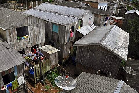 Favela, slums, in the Amazon, city of Tefe near Manaus, Amazonas province, Brazil, South America