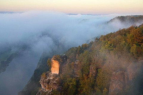 View from the Bastei rock formation of Elbe river and Elbtal valley, Saxon Switzerland, Saxony, Germany, Europe