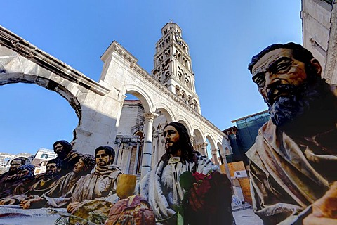 Diocletian's Palace, square between Peristyle and Split Cathedral, sculpture of Christ and the 12 apostles at the Last Supper, historic town centre, Split, Central Dalmatia, Dalmatia, Adriatic coast, Croatia, Europe, PublicGround