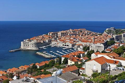 Overlooking the historic town centre of Dubrovnik, UNESCO World Heritage Site, Central Dalmatia, Dalmatia, Adriatic coast, Croatia, Europe, PublicGround