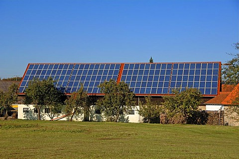 Photovoltaic system on farm buildings, Morschreuth, Upper Franconia, Bavaria, Germany, Europe