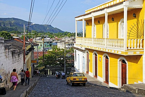 Street with colonial building in the city of Honda, Colombia, South America, Latin America