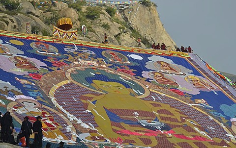 Tibetan Buddhism, Shoton or Shodon Festival with the unrolling of the huge thangka, a silk painting depicting Buddha, Drepung Monastery, Lhasa, Tibet, China, Asia