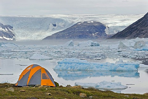 Tent overlooking the continental ice sheet, Johan Petersen Fjord, East Greenland, Greenland