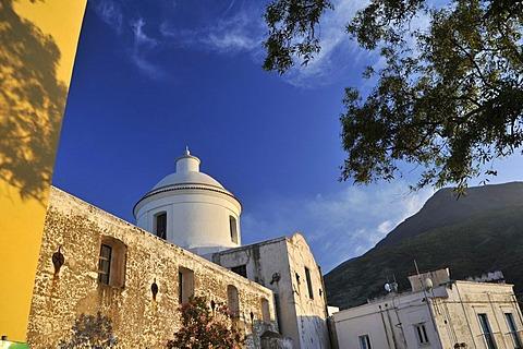 Church of Stromboli and Mt Stromboli, Aeolian Islands or Lipari Islands, Sicily, Southern Italy, Italy, Europe