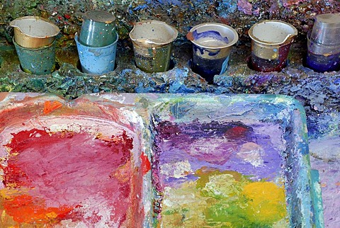 Painter's palettes, oil paints, Zurich, Switzerland, Europe