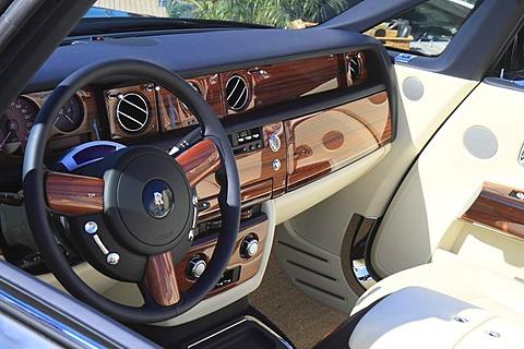 Steering wheel and dashboard of a Rolls Royce Convertible, Monaco Yacht Show, Port Hercule, Monaco, Cote d'Azur, Mediterranean Sea, Europe