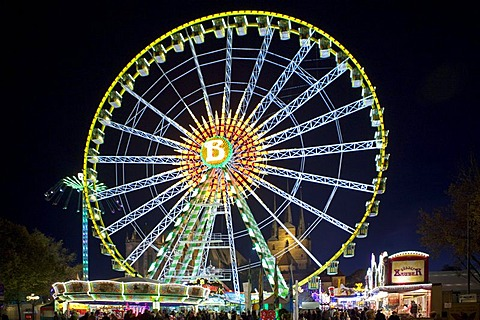 Ferris wheel at the fun fair in Domplatz square, Erfurt, Thuringia, Germany, Europe