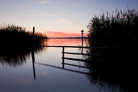 Evening mood, dusk, at the beginning of Reichenau Island in Lake Constance, Baden-Wuerttemberg, Germany, Europe