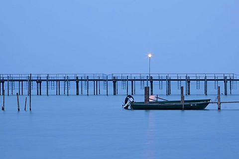 Dusk and high fog with the jetty in Lake Constance, Iznang, Hoerig Peninsula, Baden-Wuerttemberg, Germany, Europe, PublicGround