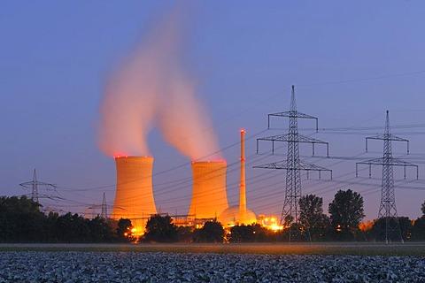 Grafenrheinfeld nuclear power plant at dusk, Lower Franconia, Bavaria, Germany, Europe, PublicGround