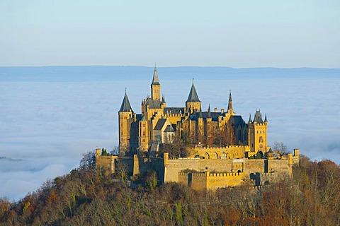 Burg Hohenzollern castle at sunrise, Swabian Alb, Baden-Wuerttemberg, Germany, Europe
