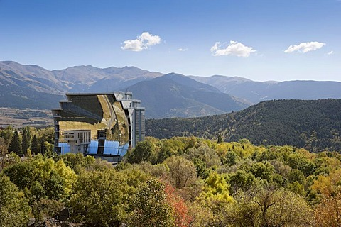 Solar furnace, le Grand Four Solaire d'Odeillo, 1000 kW thermal power station, Font-Romeu-Odeillo-Via, Pyrenees-Orientales, Northern Catalonia, France, Europe, PublicGround