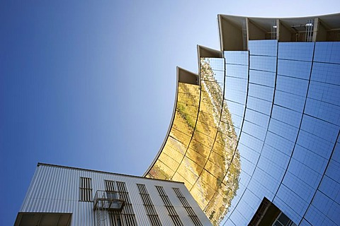 Solar furnace, le Grand Four Solaire d'Odeillo, 1000 kW thermal power station, detailed view of the parabolic mirror, Font-Romeu-Odeillo-Via, Pyrenees-Orientales, Northern Catalonia, France, Europe, PublicGround