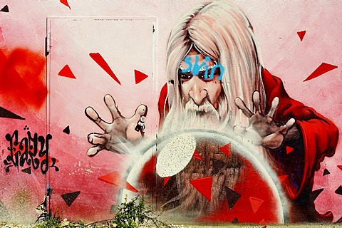 Magician as graffiti, Kultfabrik complex, Berg am Laim, Munich, Bavaria, Germany, Europe