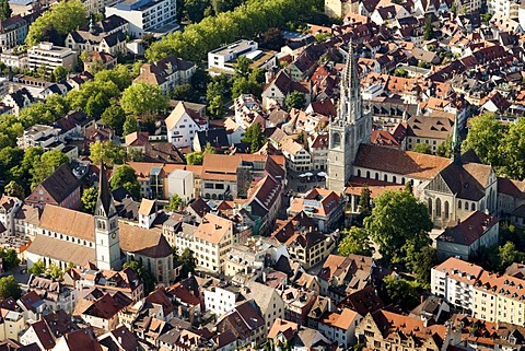 Aerial view, historic town centre of Constance with the Cathedral of Our Dear Lady and St. Stephen's Church, Lake Constance, Konstanz district, Baden-Wuerttemberg, Germany, Europe