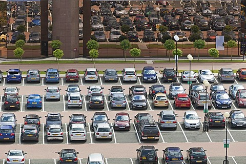 Aerial view of a public car park in Manchester, England, United Kingdom, Europe