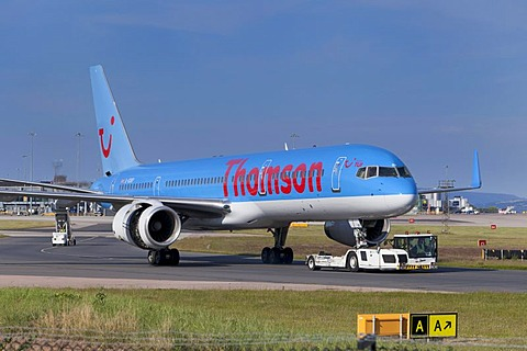 A Thomson fly.com airplane at Manchester airport, England, United Kingdom, Europe