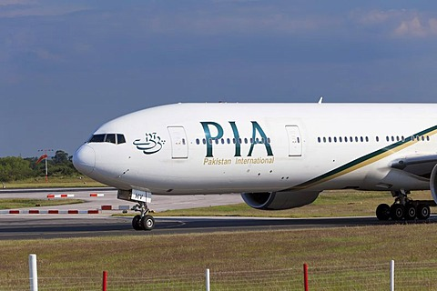PIA Pakistan International Airlines aircraft at Manchester Airport, England, United Kingdom, Europe