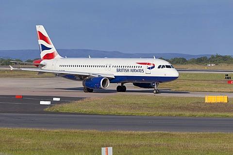 A BA aircraft at Manchester airport, England, United Kingdom, Europe
