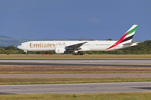 Emirates Airlines aircraft at Manchester Airport, England, United Kingdom, Europe