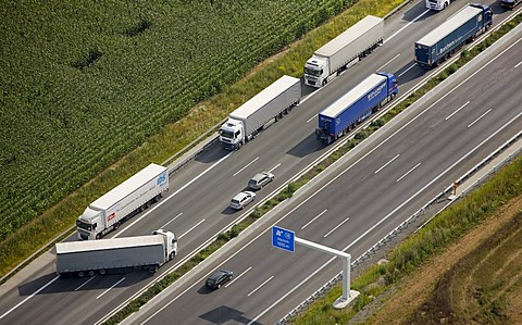 Aerial view, traffic backed up due to an accident resulting in closure of the highway, truck turning, A2 motorway between Hamm-Rhynern and Hamm, Ruhr Area, North Rhine-Westphalia, Germany, Europe