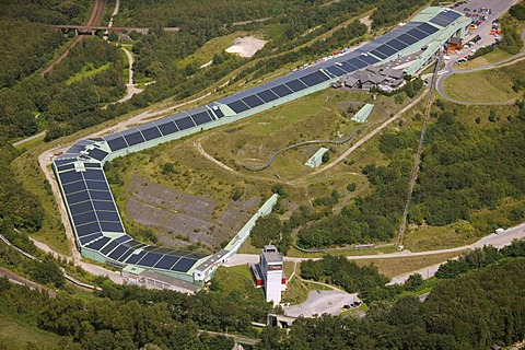Aerial view, damage caused by sinking of the reclaimed land, Alpincenter Bottrop, with solar panels on the roofs, Bottrop, Ruhr Area, North Rhine-Westphalia, Germany, Europe
