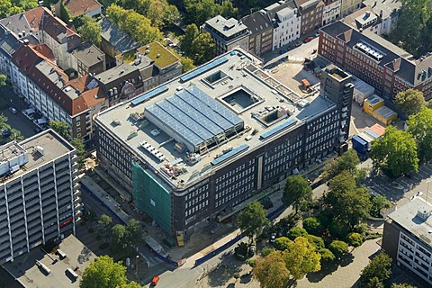 Aerial view, Hans-Sachs-House, building, solar panels at a building site, Gelsenkirchen, Ruhr Area, North Rhine-Westphalia, Germany, Europe