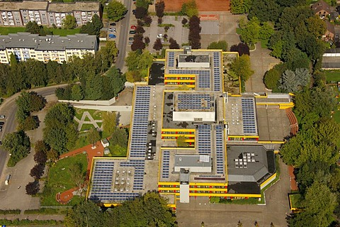 Aerial view, solar roofs, Ingeborg-Drewitz-Gesamtschule school, Gladbeck, Ruhr area, North Rhine-Westphalia, Germany, Europe