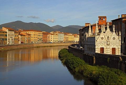 Pisa on the River Arno and the church of Santa Maria della Spina, Tuscany, Italy, Europe