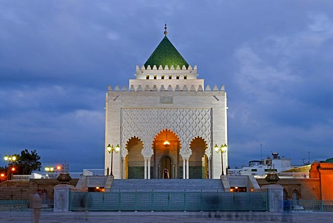 The floodlit mausoleum of King Mohammed V at the blue hour, Rabat, Morocco, Africa
