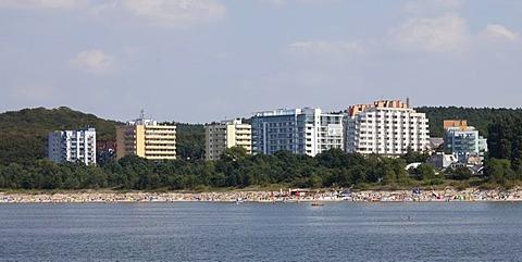Hotels on the coast, Mi&dzyzdroje beach resort, Misdroy, Wolin Island, Baltic Sea, West Pomeranian Voivodeship, Poland, Europe