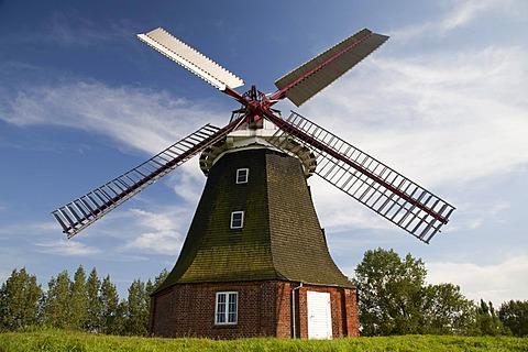 Dutch windmill of Stove, built in 1889, Boiensdorf, Northwest-Mecklenburg District, Mecklenburg-Western Pomerania, Germany, Europe