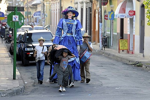 Parade, youth playing music, drama, history, fundraising, Leon, Nicaragua, Central America