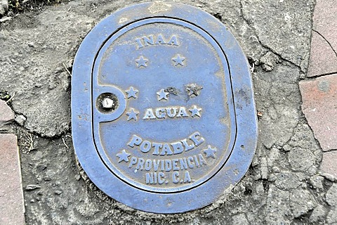Agua Potable, drinking water connection, manhole, Leon, Nicaragua, Central America