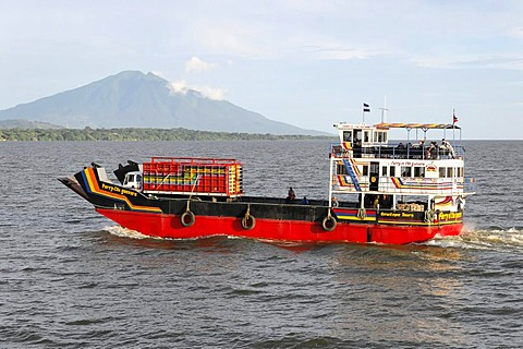 El Che Guevara ferry, in front of Concepcion Volcano, Ometepe Island, Lake Nicaragua, Nicaragua, Central America