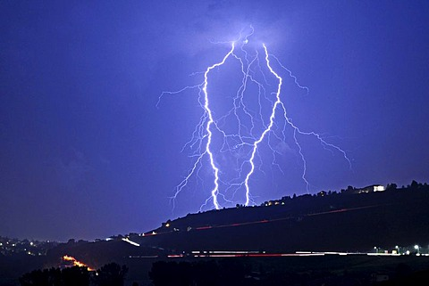 Thunderstorm with lightning above Zwickau, Saxony, Germany, Europe