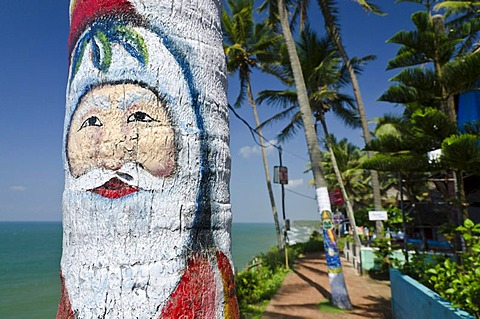 Santa Claus painted on a palmtree at Christmas time in Varkala, Kerala, India, Asia