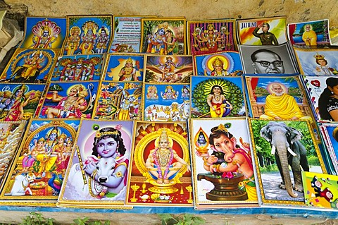 Books with the religious stories, for sale in Varkala, Kerala, India, Asia