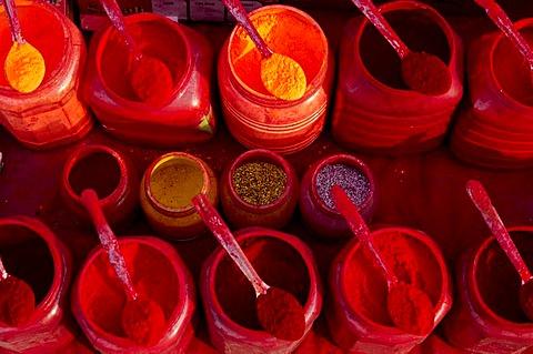 Colour powder, used mainly for religious reasons, Kolkata, West Bengal, India, Asia