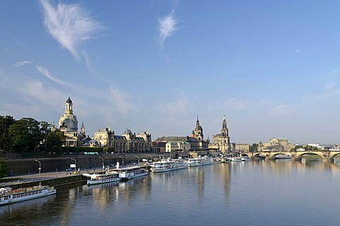 Bruehl's Terrace, Frauenkirche church, Hofkirche church and Dresden Castle seen across the river Elbe from Carolabruecke bridge, Dresden, Saxony, Germany, Europe