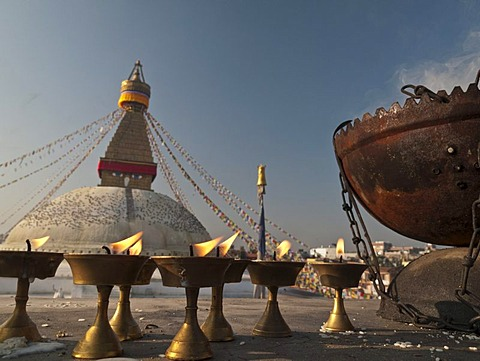 Requisites for religious ceremonies in front of Boudnath stupa, Boudnath, Kathmandu, Nepal, South Asia