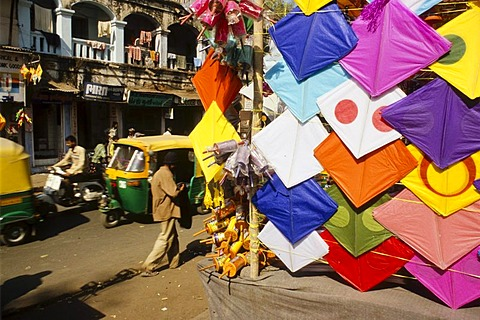 Temporary kite shops for the annual kite festival in Ahmedabad, Gujarat, India, Asia