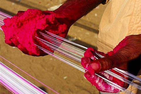 Preparing the kite threads with color and glass powder to cut the other kites off the sky, preparations for the annual kite festival in Ahmedabad, Gujarat, India, Asia