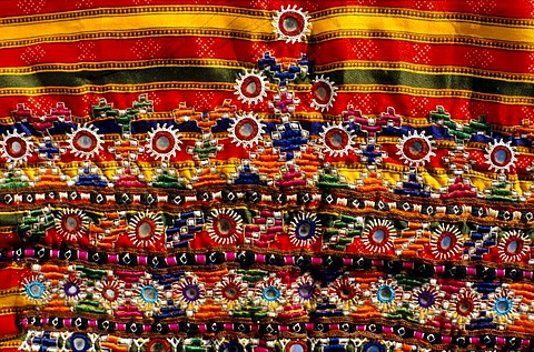 Embroidery from the villages in central Gujarat which are famous for the different styles of embroidery, Bhirendiara, Gujarat, India, Asia