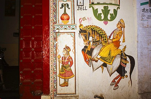 House, decorated for a wedding, Udaipur, Rajasthan, India, Asia