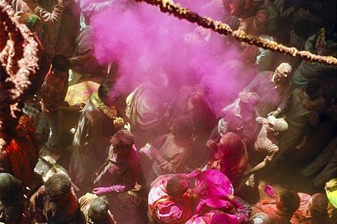 Visitors at Bihari Temple during Holi festival, Vrindaban, Uttar Pradesh, India, Asia - 832-62164